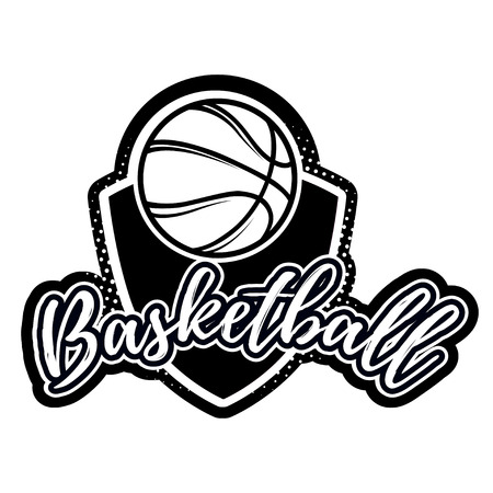 Streetball and basketball icon logo set with ball and basket in modern and vintage styles - stock Illustration