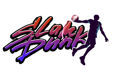 Basketball player with word slam dunk Illustration