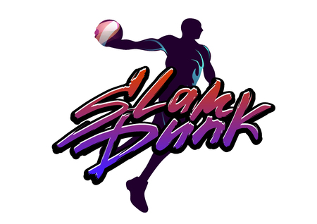 Basketball player jumps with the ball with slam dunk lettering caption in urban style