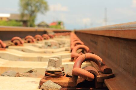 complicated journey: Close up, Blurred ,Railway, Railroad, Train Tracks, rocky gravel stones, Selective Focus