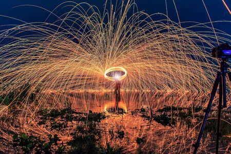 steel wool: Burning steel wool fireworks Stock Photo