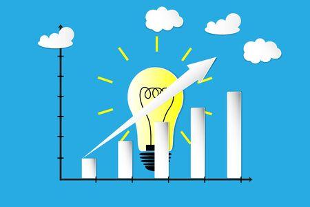 the idea and growth graph Reklamní fotografie - 130034697