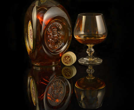 Brandy Buton Vecchia Romagna Classic by Italy. Founded in 1820, when Jean Bouton, a French emigrant family of cognac producers, arrived in the region Bologna - illustrative editorial Redakční