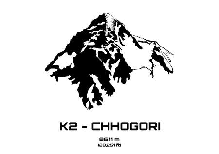 pinnacle: Outline vector illustration of Mt. K2 - Chhogori (8611 m)