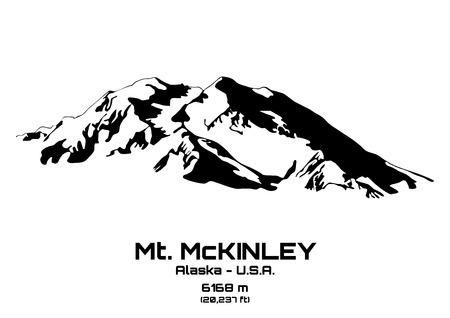 Outline illustration of Mt. McKinley (6168 m) Vector