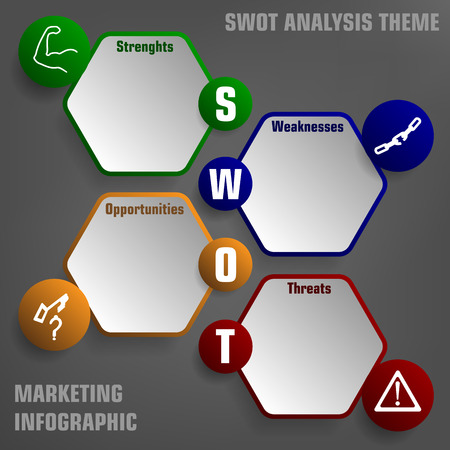illustration of SWOT analysis with icons represent each part and hexagon fields Vector