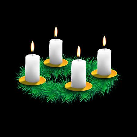 adventskranz: Illustration der Adventskranz mit realistischen Fichte, vier wei�e Kerzen und goldenen Teller