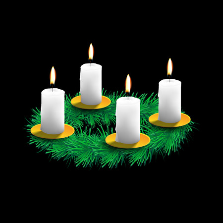 advent candles: illustration of advent wreath with realistic spruce, four white candles and golden dishes