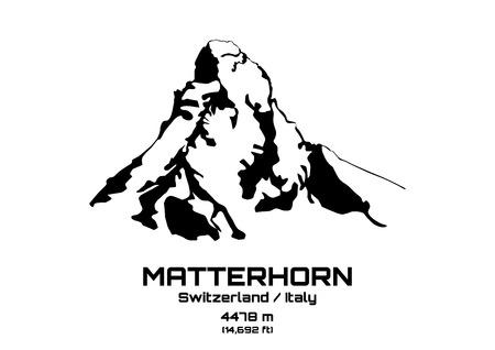 alpes suizos: Ilustraci�n de contorno de la monta�a Cervino (4.475 m) Vectores