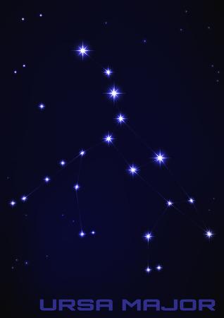 Vector illustratie van Ursa Major constellatie in het blauw Stock Illustratie