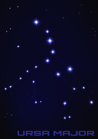 Vector illustration of Ursa Major constellation in blue Иллюстрация