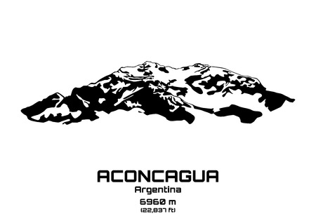 Outline vector illustration of Mt. Aconcagua (6960 m) Иллюстрация