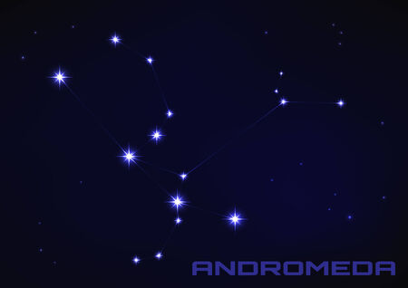 andromeda: Vector illustration of Andromeda star constellation in blue Illustration