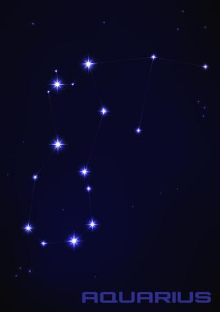 abstract aquarius: Vector illustration of Aquarius star constellation in blue