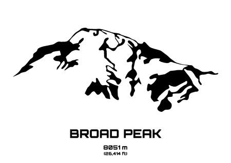 Outline vector illustration of Broad Peaka (8051 m) Vektoros illusztráció