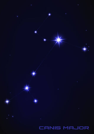 major: Vector illustration of Canis major star constellation in blue