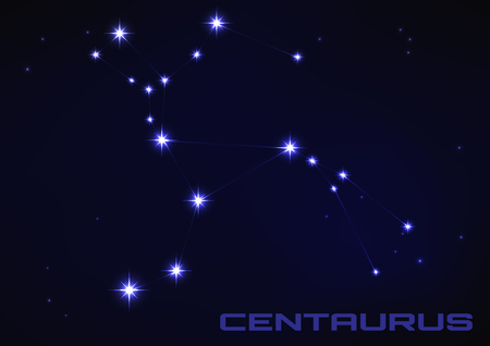 Vector illustration of Centaurus constellation in blue