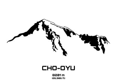 himalayas: Outline vector illustration of Cho Oyu (8201 m)