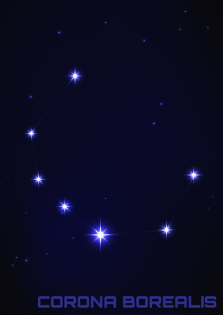 corona: Vector illustration of Corona Borealis constellation in blue