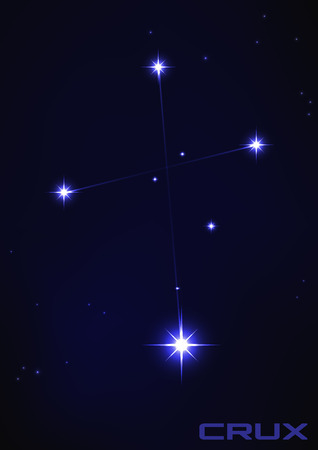 Vector illustration of Crux constellation in blue