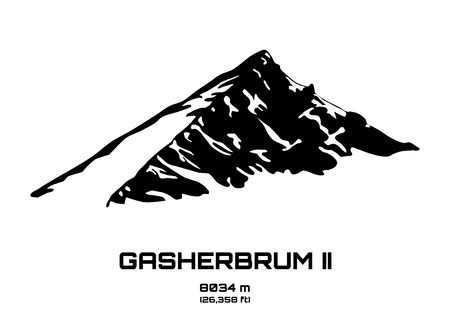 Outline vector illustration of Gasherbrum II (8034 m) Иллюстрация