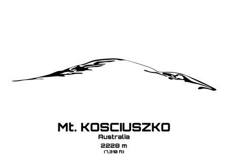 Outline vector illustration of Mt. Kosciuszko (2228 m)