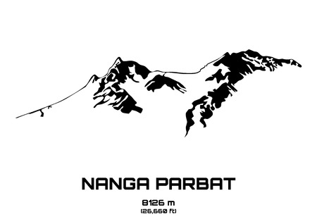 nude outdoors: Outline vector illustration of Mt. Nanga Parbat (8091 m) Illustration