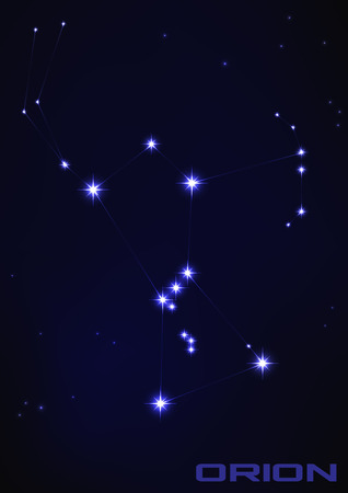 Vector illustration of Orion star constellation in blue