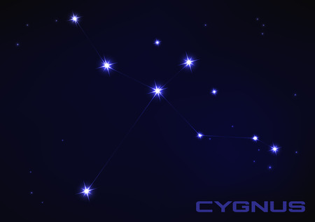 Vector illustration of Cygnus constellation in blue Иллюстрация
