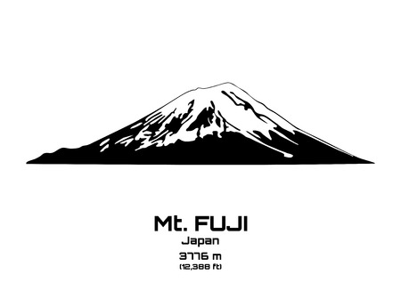 top of mountain: Outline vector illustration of Mt. Fuji (3776 m)