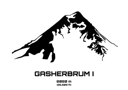 Outline vector illustration of Mt. Gasherbrum I (8080 m) Иллюстрация