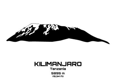 hiking: Outline vector illustration of Mt. Kilimanjaro (5895 m)