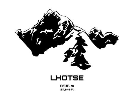 pinnacle: Outline vector illustration of Mt. Lhotse (8516 m)