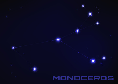 Vector illustration of Monoceros constellation in blue