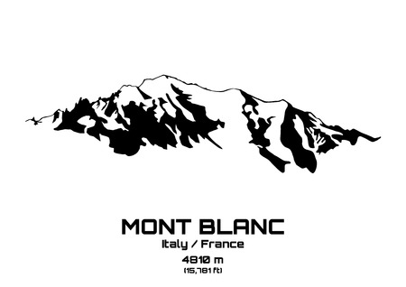 Outline vector illustration of Mont Blanc (4810 m)