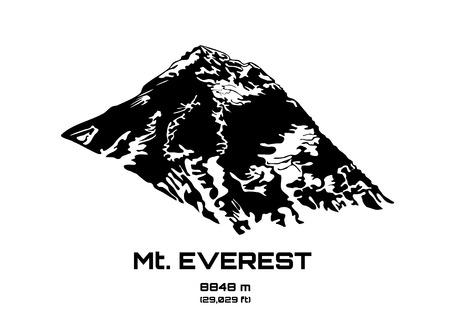 trekking: Outline vector illustration of Mt. Everest (8848 m)