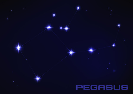 Vector illustration of Pegasus constellation in blue Vector