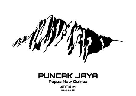 Schets vector illustratie van Mt. Puncak Jaya (4884 m) Stock Illustratie