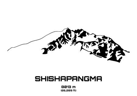 pinnacle: Szkic ilustracji wektorowych z Mt. Sziszapangma (8013 m)