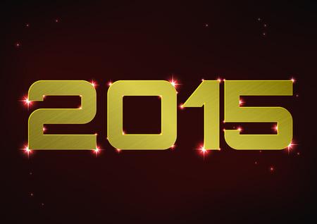 Vector illustration of golden metallic number 2015 over red night sky Vector