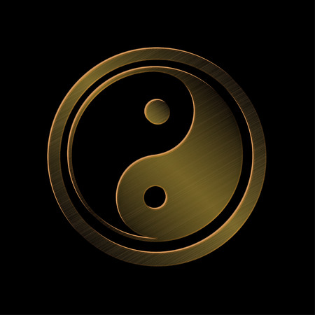 chinese philosophy: vector illustration of bronze metallic Jin Jang, black background