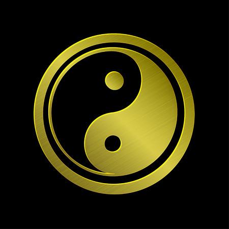 vector illustration of golden metallic Jin Jang, black background