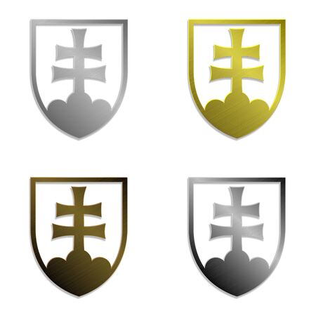 slovak: illustration of four simply isolated metallic emblems of Slovak republic, in silver, gold, bronze and steel variant