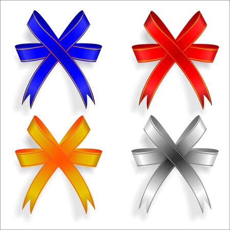 pf: vector illustration pf four decorative ribbons, blue, red, golden and silver Illustration