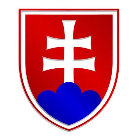 slovakian: vector illustration of isolated metallic emblem of Slovak republic