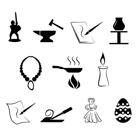 vector illustration - set of simply isolated traditional craftsmanships/arts black icons