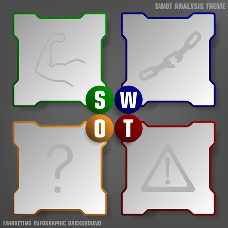 swot: Vector illustration of SWOT analysis background colored theme