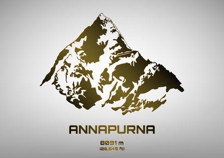 pinnacle: Outline vector illustration of bronze Mt. Annapurna (8091 m)