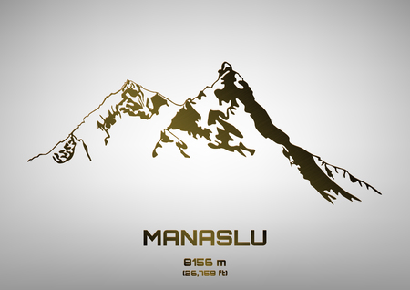 pinnacle: Outline vector illustration of bronze Mt. Manaslu (8156 m)