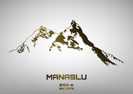 pinnacle: Wektor ilustracja kontur brązu Mt. Manaslu (8156 m)